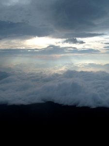 Clouds above the Suicide Forest, seen from Mt. Fuji, Japan